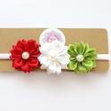 Nemzeti piros fehér világos zöld virágos puha rugalmas hajpánt, fejpánt keresztelőre, esküvőre, Ruha, divat, cipő, Hajbavaló, Hajpánt, A virágos fejpántot (hajpánt) szatén szalagból készítettem. A virágok közepén gyöngy található.   A ..., Meska