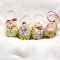 Húsvéti tojás, Dekoráció, Dísz, Ünnepi dekoráció, Húsvéti apróságok, Decoupage, szalvétatechnika, Polisztirol alapra szalvétatechnikával díszített tojás szett. Szaténszalaggal és díszgombokkal dísz..., Meska