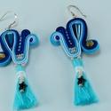 Bohém fülbevaló, bojtos fülbevaló, kék fülbevaló, sujtás ékszer, sujtás fülbevaló, kék sujtás fülbevaló, ajándék nőknek