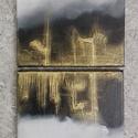 Vonzás - Két részből álló alkotás , Képzőművészet, Festmény, Festmény vegyes technika, Két részből álló alkotás, 20x20 cm-es vásznakra festve.   Az arany színű metál paszta hasz..., Meska
