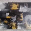 Designfestmény, Képzőművészet, Festmény, Akril, Festészet, Méret: 50x40 cm.   A fekete, a fehér és az arany színek használata érvényesül hol összemosódással, ..., Meska
