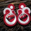 Valentin-nap sujtás fülbevaló, Ékszer, Fülbevaló, Sujtás technikával készített, egyedi fülbevaló  A fülbevaló középpontját egy szív mintá..., Meska