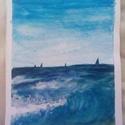 Óceáni látkép, Dekoráció, Képzőművészet, Kép, Festmény, Festészet, Akvarell teknikával készült  kép.  Méret: A5, Meska
