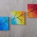 Ág és színek, Dekoráció, Képzőművészet, Kép, Festmény, 3 db 20 cm x 20 cm képsorozat., Meska