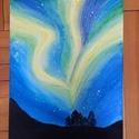 Aurora Borealis, Dekoráció, Képzőművészet, Kép, Festmény, Temperával és vízfestékkel festékkel készült alkotás.  Méret: 30cm x 40cm, Meska