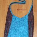 Csoki és türkiz tűzött táska, 38cm széles, 35cm magas,állítható pántjainak ...