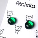 Áttetsző smaragd üveg fülbevaló, Ékszer, óra, Fülbevaló, Áttetsző zöld üvegből készítettem ezt a fülbevalót olvasztásos technikával. A fém része..., Meska