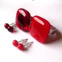Cseresznye és málna üveggyűrű+füli csomag :), Ékszer, Gyűrű, Ékszerszett, Fülbevaló, a piros szerelmeseinek gyűrűcsomag pöttyfülbevalókkal.  Piros és áttetsző piros üvegből készítettem ..., Meska