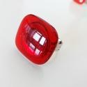 Nagy fejű málnaszörp üveggyűrű, Ékszer, óra, Gyűrű, Ékszerkészítés, Üvegművészet, Gyönyörő áttetsző  piros színű üvegből készítettem ezt a gyűrűt olvasztásos technikával. Mutatós da..., Meska