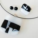 Fekete-fehér mozaikos  üvegékszer szett, Ékszer, óra, Medál, Fülbevaló, Gyűrű, Fekete-fehér és egy pici ezüst csillámos üvegből készítettem ezt szettet olvasztásos technikával. El..., Meska