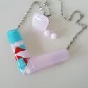 Türkiz-rózsaszín üveg nyakék szett, Ékszer, óra, Ékszerszett, Medál, Gyűrű, Különböző színű üvegekből készítettem ezt  a szettet olvasztásos technikával. A nyakék ..., Meska