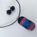 AKCIÓS kék-fekete-mályva pici üvegékszer szett, Ékszer, óra, Ékszerszett, Fülbevaló, Gyűrű, Kék , mályva fekete  és kék csillámos üvegekből készítettem ezt a szettet olvasztásos technikával. E..., Meska