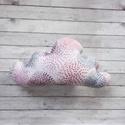 Rózsaszín felhőcske párna, Baba-mama-gyerek, Játék, Gyerekszoba, Plüssállat, rongyjáték, Rózsaszín alapon mintás bio pamutvászonból készült ez a puha felhő alakú kisebb méretű párna. Kedves..., Meska