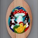Húsvéti mintás fa tál, Képzőművészet, Mindenmás, Húsvéti díszek, Napi festmény, kép, Húsvéti mintás festett fa tál. Mérete 24x15 cm., Meska
