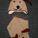 Kutya horgolt sapi + sál , Baba-mama-gyerek, Ruha, divat, cipő, Kendő, sál, sapka, kesztyű, Sapka,   Készülhet füllel vagy a nélkül is , bármilyen méretben. Lányoknak és fiúknak egyaránt. ..., Meska