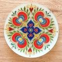 Mandala tál, Képzőművészet, Dekoráció, Magyar motívumokkal, Dísz, Üvegtálra festett mandala, akril festékkel. Méret: 20 cm, Meska