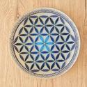 Életvirág Mandala tál, Képzőművészet, Dekoráció, Dísz, Vegyes technika, Üvegtálra festett mandala, akril festékkel. Méret: 20 cm, Meska