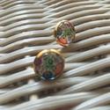 Bizsu fülbevaló üveg kabosonnal (12mm), Ékszer, Pötty fülbevaló, Fülbevaló, Ékszerkészítés, Bizsu ezüst fülbevaló 12mm-es üveg kabosonnal., Meska