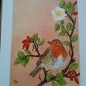 Vörösbegy akril festmény, Képzőművészet, Festmény, Akril, Festészet, Vörösbegy, az év madara 1996  Eladó a képen látható lakkozott, vászonra készült akril festmény. 18 ..., Meska