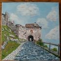 Sümegi vár, Képzőművészet, Festmény, Akril, Festészet, Eladó a képen látható lakkozott, feszített vászonra készült akril festmény. 30 cm x 30 cm, Meska