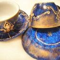 Blue Morning csésze és tányérka, Konyhafelszerelés, Bögre, csésze, Szépséges, egyedi romantikus kávés csésze alátéttel, királykék színben, márványosra festve. Csillogó..., Meska