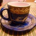 Sweety csésze, Konyhafelszerelés, Bögre, csésze, Különleges, egyedi romantikus kávés vagy teás csésze alátéttel, királykék színben, márványosra festv..., Meska