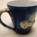 Magic Blue - Egyedi darab, Konyhafelszerelés, Ékszer, óra, Bögre, csésze, Különleges, romantikus teás bögre. Süthető gyurmával díszítve, királykék és csillogó arannyal, kis s..., Meska