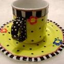 Alíz teás csésze, Konyhafelszerelés, Bögre, csésze, A teás csésze és tányérka mintáját a pinteresten találtam, kicsit nekem olyan Alíz csodaországbanos...., Meska