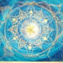 Kék - arany mandala -  by Made in Spirit, Képzőművészet, Festmény, Akril, Pasztell, Festészet, Mindenmás, Kék háttérrel arany színű festékkel festett mandala kép, préselt lapon. Vászonra szívesen készítek ..., Meska