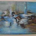 Aquapolis -  absztrakt festmény, Képzőművészet, Festmény, Akril, Vászonkép egyedi technikával akril festékkel festve. Mérete: 30x40 cm Színei: kék, barna,fehér, feke..., Meska