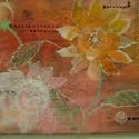 Virágos - by Made in Spirit, Képzőművészet, Festmény, Akril, Festészet, Mindenmás, Vászonkép többféle egyedi technikával akril festékkel festve. Mérete: 30x40 cm Étkezőbe, konyhába c..., Meska