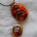 Bonita - medál és gyűrű (szett), Ékszer, óra, Medál, Nyaklánc, Gyűrű, Egyedi technikával készült medál és gyűrű, süthető gyurmából (a gyűrű hátlapja fekete) a medálé aran..., Meska