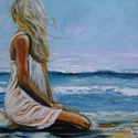 Nő a parton -akril festmény, Képzőművészet, Festmény, Akril, Farost lemezen akril festékkel festve, ecsettel és festőkéssel. Mérete: 40x40 cm Egy van belőle. Az ..., Meska