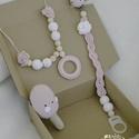 Rózsaszín-fehér baba-mama szett, Baba-mama-gyerek, Ékszer, óra, Játék, Baba-mama kellék, Horgolás, Ez a gyönyörű és nagyon hasznos rózsaszín-fehér baba-mama szett tartalmaz egy nyakláncot, ami egyar..., Meska
