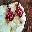Vörös meggy fülbevaló, Ékszer, Fülbevaló, Ékszerkészítés, Gyöngyfűzés, Szép csillogású japán gyöngyökből készítettem ezt a fénylő fülbevalót, amely elegáns és egyszerű vi..., Meska