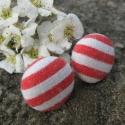 Piros-fehér csíkos fülbevaló, Ékszer, Fülbevaló, Textilell bevont gombot ragasztottam fülbevaló alapra.  1,5 cm átmérőjű., Meska
