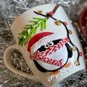 Cuki pingvines, karácsonyi témájú bögre, 3 dl, Otthon & Lakás, Konyhafelszerelés, Bögre & Csésze, Gyurma, Egyedi, kézzel, süthető gyurma technikával készített cuki pingvines bögre. Karácsonyi témájú így mi..., Meska