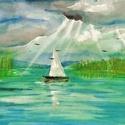Balatoni akvarell, Képzőművészet, Festmény, Akvarell, Festmény vegyes technika, Az eredeti akvarell festményemről készült kiváló minőségű művészi nyomat. Hordozó:A/4 ma..., Meska