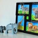 gyerekszoba dekoráció: zebra, elefánt, zsiráf, oroszlán, Baba-mama-gyerek, Képzőművészet, Gyerekszoba, Baba falikép, Festett tárgyak, Fotó, grafika, rajz, illusztráció, Ez a vegyes technikával készült alkotásom, kitűnően alkalmas gyerekszobába. Masszív 29x29 cm fekete..., Meska