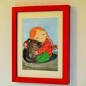 gyerekszobai kép, kislány cicával, Képzőművészet, Dekoráció, Festmény, Akvarell, Fotó, grafika, rajz, illusztráció, Festészet, Akvarell festményemről minőségi nyomat. Fa piros keret, 18x24 cm kép, 13x18 cm.  , Meska