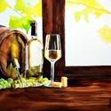 Bor, Borozás, Emlék, Szőlő , Férfiaknak, Legénylakás, Sör, bor, pálinka, Konyhafőnök kellékei, Festészet, Fotó, grafika, rajz, illusztráció, Nem Print!  Eredeti akvarell festmény mérete 28x18cm. Művészi 200g/m2 30x20cm-es akvarell papírra. ..., Meska