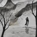 Együtt, Szerelem, Párban, Nem Print! Eredeti monokróm grafika,falikép, Dekoráció, Képzőművészet, Grafika, Illusztráció, Fotó, grafika, rajz, illusztráció, Festészet, A grafika A/4-es minőségi 200g/m2 canson művészpapírra festettem. Szeretettel ajánlom pároknak. Kar..., Meska