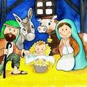 Betlehem, Karácsony, Gyerekeknek kis Betlehem, Képzőművészet, Dekoráció, Karácsonyi, adventi apróságok, Ünnepi dekoráció, Fotó, grafika, rajz, illusztráció, Festészet, Számítógépes grafikám nyomtatva. Gyerekeknek, 18-cm magas kis Betlehem.  Üvegezett, festett fa kere..., Meska