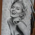Marilyn Monroe grafit ceruza rajz, Művészet, Grafika & Illusztráció, Fotó, grafika, rajz, illusztráció, Marilyn Monroe-ról grafit ceruzákkal készített realisztikus rajzom, melyet kép alapján készítettem ..., Meska