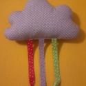 Felhő párna színes szalagokkal., Dekoráció, Színes szalagokkal díszített felhő formájú párna.  Szuper gyerekszoba dísz - kislányok  haj..., Meska