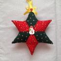 Karácsonyi csillag dísz, Dekoráció, Karácsonyi, adventi apróságok, Karácsonyi dekoráció, Ajtódísz, kopogtató, Varrás, Patchwork, foltvarrás, Karácsonyi  mintás anyagból készült csillag.  Tökéletes dísze lehet otthonodnak.  Teheted ablakba, ..., Meska