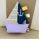 Kalózos -Vitorlás hajó / lila- fehér pöttyös, Pihe - puha textil hajó kicsik kedvenc játéka l...