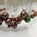 Szőlőfürt karkötő, Ékszer, óra, Karkötő, A bronz és zöld színű, különböző méretű gyöngyök és a vörösréz drót nagyon különl..., Meska