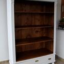 Vintage könyvespolc- hasonló rendelhető, Bútor, Szekrény, Festett tárgyak, Egy ónémet szekrényt alakítottam át könyvespolccá. Tölgy testtel, és fiókelőlappal, fenyő hátfallal..., Meska