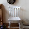 Vintage szék, Bútor, Szék, fotel, Festett tárgyak, Tölgy színű széket festettem fehérre, antikolt élekkel, shabby chic stílusban. Sima, selymes tapint..., Meska